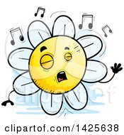 Cartoon Doodled Singing Flower Character