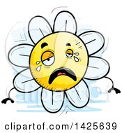 Clipart Of A Cartoon Doodled Crying Flower Character Royalty Free Vector Illustration