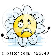 Clipart Of A Cartoon Doodled Mad Flower Character Royalty Free Vector Illustration