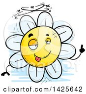 Clipart Of A Cartoon Doodled Drunk Flower Character Royalty Free Vector Illustration by Cory Thoman