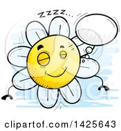 Clipart Of A Cartoon Doodled Dreaming Flower Character Royalty Free Vector Illustration by Cory Thoman