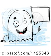 Clipart Of A Cartoon Doodled Talking Ghost Royalty Free Vector Illustration