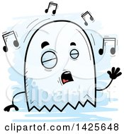 Clipart Of A Cartoon Doodled Singing Ghost Royalty Free Vector Illustration