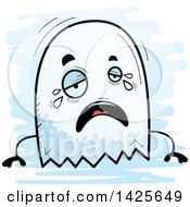 Clipart Of A Cartoon Doodled Crying Ghost Royalty Free Vector Illustration