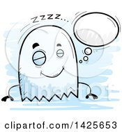 Clipart Of A Cartoon Doodled Dreaming Ghost Royalty Free Vector Illustration by Cory Thoman