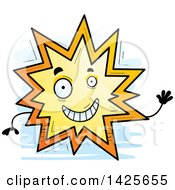 Clipart Of A Cartoon Doodled Waving Explosion Character Royalty Free Vector Illustration