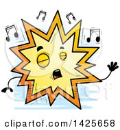 Clipart Of A Cartoon Doodled Singing Explosion Character Royalty Free Vector Illustration