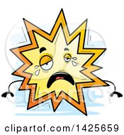 Clipart Of A Cartoon Doodled Crying Explosion Character Royalty Free Vector Illustration