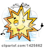 Clipart Of A Cartoon Doodled Drunk Explosion Character Royalty Free Vector Illustration