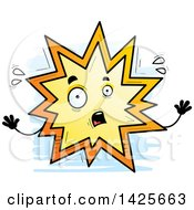 Clipart Of A Cartoon Doodled Scared Explosion Character Royalty Free Vector Illustration