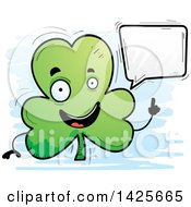 Clipart Of A Cartoon Doodled Talking Shamrock Clover Character Royalty Free Vector Illustration