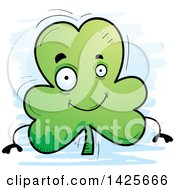Clipart Of A Cartoon Doodled Shamrock Clover Character Royalty Free Vector Illustration