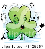 Clipart Of A Cartoon Doodled Singing Shamrock Clover Character Royalty Free Vector Illustration by Cory Thoman