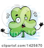 Clipart Of A Cartoon Doodled Scared Shamrock Clover Character Royalty Free Vector Illustration