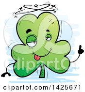 Clipart Of A Cartoon Doodled Drunk Shamrock Clover Character Royalty Free Vector Illustration