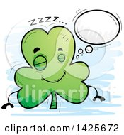 Clipart Of A Cartoon Doodled Dreaming Shamrock Clover Character Royalty Free Vector Illustration