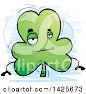 Clipart Of A Cartoon Doodled Bored Shamrock Clover Character Royalty Free Vector Illustration