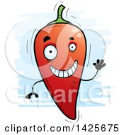 Clipart Of A Cartoon Doodled Waving Hot Chile Pepper Character Royalty Free Vector Illustration by Cory Thoman