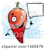 Clipart Of A Cartoon Doodled Talking Hot Chile Pepper Character Royalty Free Vector Illustration by Cory Thoman