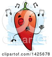 Clipart Of A Cartoon Doodled Singing Hot Chile Pepper Character Royalty Free Vector Illustration by Cory Thoman