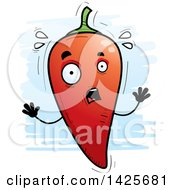 Clipart Of A Cartoon Doodled Scared Hot Chile Pepper Character Royalty Free Vector Illustration by Cory Thoman