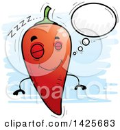 Clipart Of A Cartoon Doodled Dreaming Hot Chile Pepper Character Royalty Free Vector Illustration by Cory Thoman