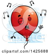 Clipart Of A Cartoon Doodled Singing Balloon Character Royalty Free Vector Illustration
