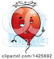Clipart Of A Cartoon Doodled Drunk Balloon Character Royalty Free Vector Illustration by Cory Thoman
