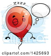 Clipart Of A Cartoon Doodled Dreaming Balloon Character Royalty Free Vector Illustration by Cory Thoman