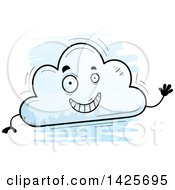 Clipart Of A Cartoon Doodled Waving Cloud Character Royalty Free Vector Illustration
