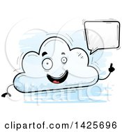 Clipart Of A Cartoon Doodled Talking Cloud Character Royalty Free Vector Illustration