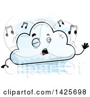 Clipart Of A Cartoon Doodled Singing Cloud Character Royalty Free Vector Illustration