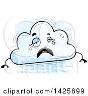 Clipart Of A Cartoon Doodled Crying Cloud Character Royalty Free Vector Illustration