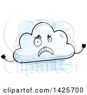 Clipart Of A Cartoon Doodled Mad Cloud Character Royalty Free Vector Illustration