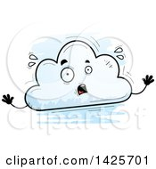 Cartoon Doodled Scared Cloud Character