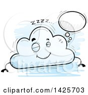 Clipart Of A Cartoon Doodled Dreaming Cloud Character Royalty Free Vector Illustration by Cory Thoman