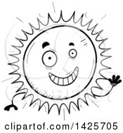 Clipart Of A Cartoon Black And White Doodled Waving Sun Character Royalty Free Vector Illustration
