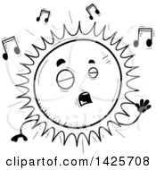 Cartoon Black And White Doodled Singing Sun Character