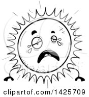 Clipart Of A Cartoon Black And White Doodled Crying Sun Character Royalty Free Vector Illustration