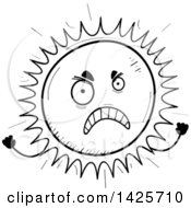 Clipart Of A Cartoon Black And White Doodled Mad Sun Character Royalty Free Vector Illustration