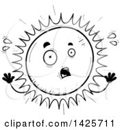 Clipart Of A Cartoon Black And White Doodled Scared Sun Character Royalty Free Vector Illustration