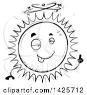 Clipart Of A Cartoon Black And White Doodled Drunk Sun Character Royalty Free Vector Illustration