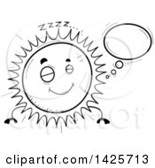 Clipart Of A Cartoon Black And White Doodled Dreaming Sun Character Royalty Free Vector Illustration