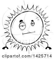 Clipart Of A Cartoon Black And White Doodled Bored Sun Character Royalty Free Vector Illustration