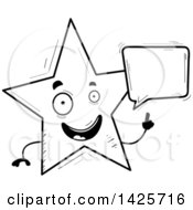 Clipart Of A Cartoon Black And White Doodled Talking Star Character Royalty Free Vector Illustration
