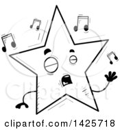 Cartoon Black And White Doodled Singing Star Character