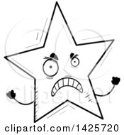 Clipart Of A Cartoon Black And White Doodled Mad Star Character Royalty Free Vector Illustration