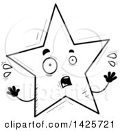Clipart Of A Cartoon Black And White Doodled Scared Star Character Royalty Free Vector Illustration