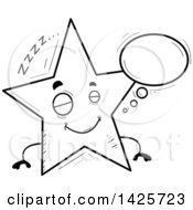 Clipart Of A Cartoon Black And White Doodled Dreaming Star Character Royalty Free Vector Illustration