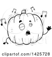 Cartoon Black And White Doodled Singing Pumpkin Character